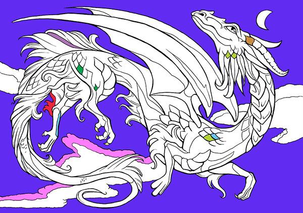 fantasy colouring book children's book dragon line art Fairies unicorn fairy sphinx