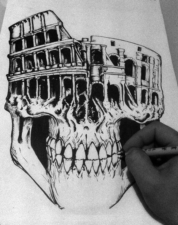 Funboy  damn barcelona roma paper dark skull colosseum demon illuminati macabre nWo brush ILLUSTRATION  death