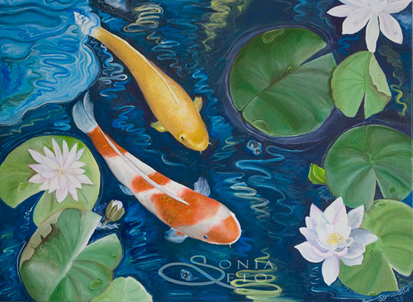 Koi fish painting series on behance for Koi fish pond drawing