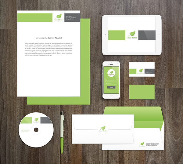 Green shade landscape architecture on student show green shade is an upscale landscape architecture firm with a focus on being green the business card envelope letterhead and seed pack are all on colourmoves