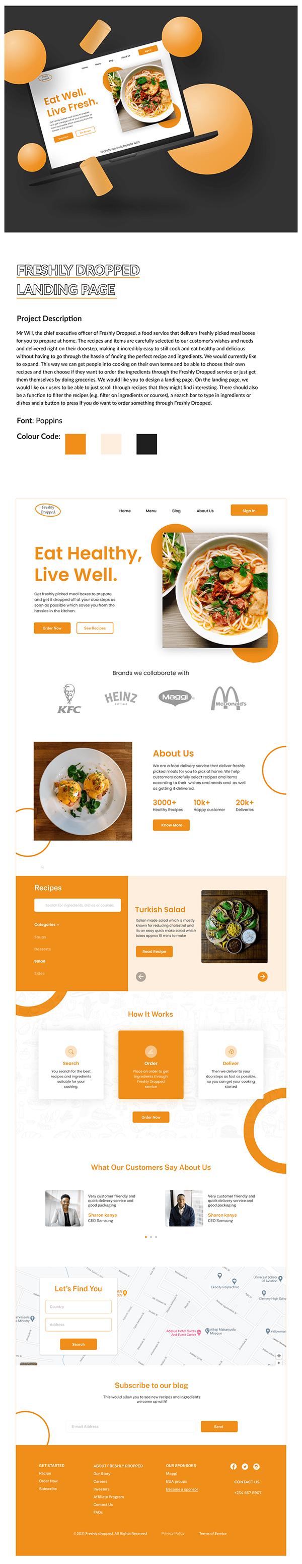 Freshly Foods Landing Page