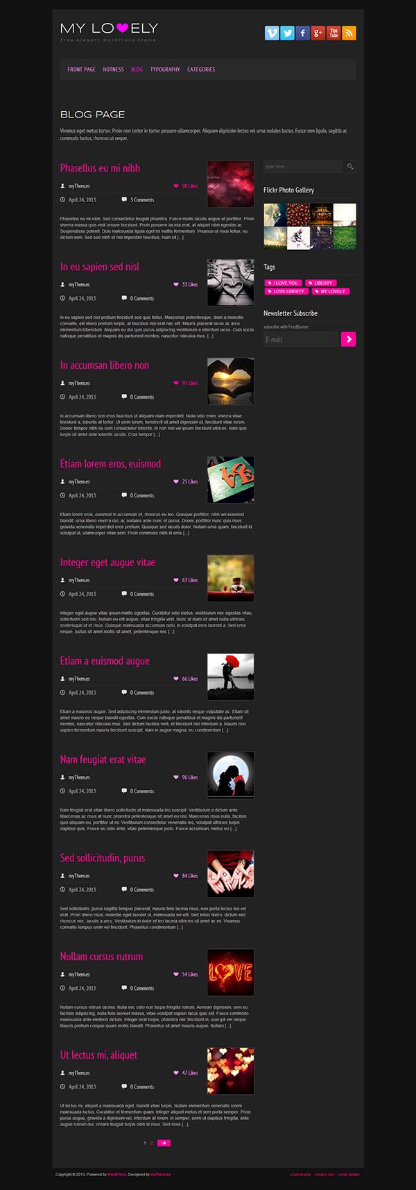 My Lovely Free WordPress Theme