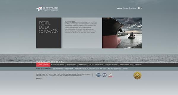 Diseño de sitio web para PlateTrade. Trabajo realizado en Lion Agency.
