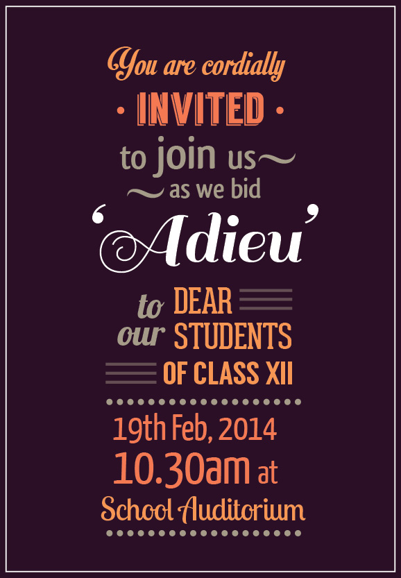 Adieu-Farewell Invite On Behance
