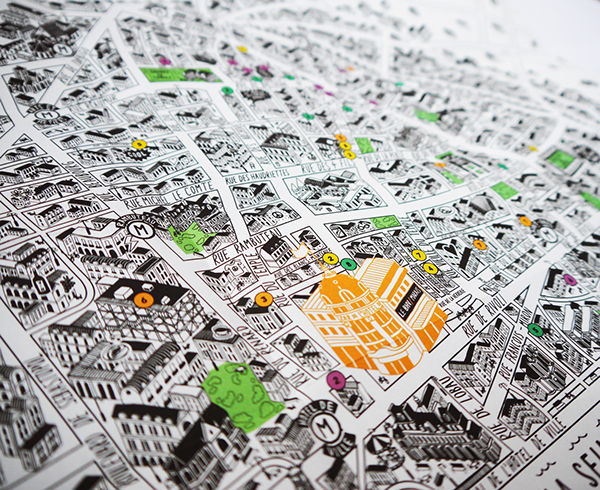 i was commissioned by rosapark and bhv store to create a promotional map of le marais area of paris the store is a prominent part of le marais and the