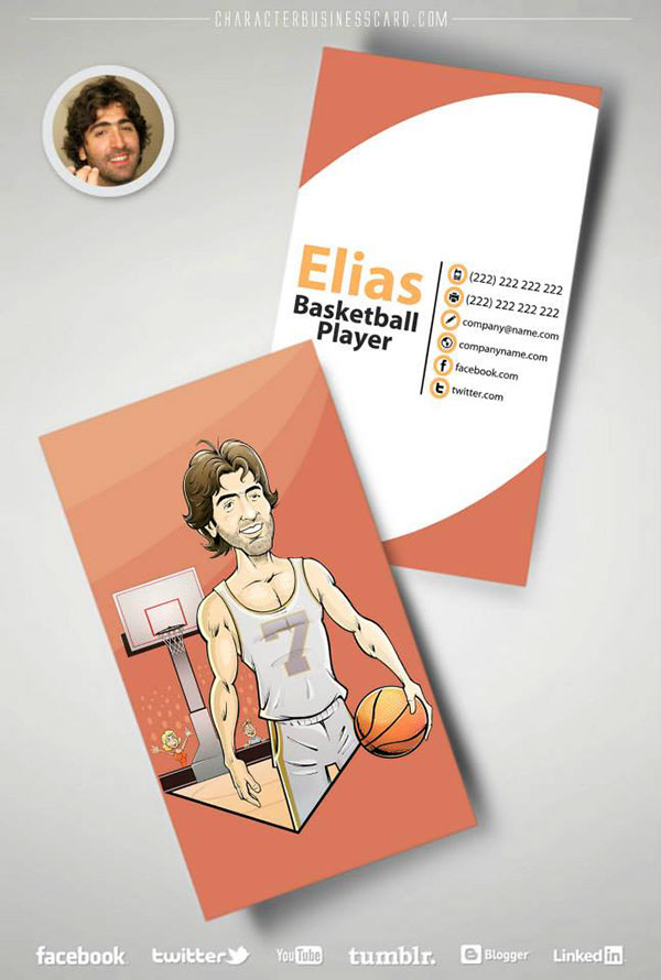 basketball sport social media caricature   personalized impressive graphic Promotion Character business card marketing