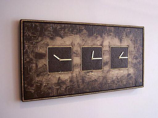 clock mixed media canvas abstract Acrylic paint