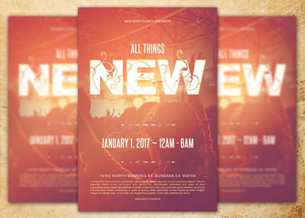 all things new church flyer template is designed for churches and can be used for your sermons youth programs concerts or any event that need a clean