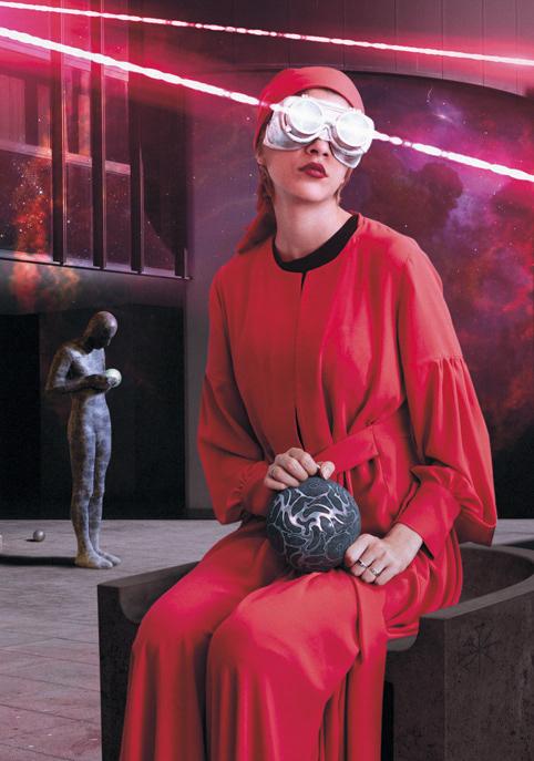 Cover Art goggles Interior laser light red sci-fi sphere woman