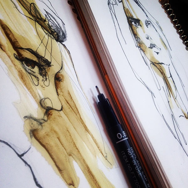 arts art fine art visual arts  wine ink black Shadows female woman figure face eyes expressions emotions