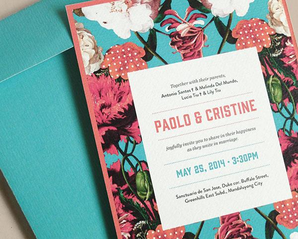 wedding invite Flowers collage wedding invite