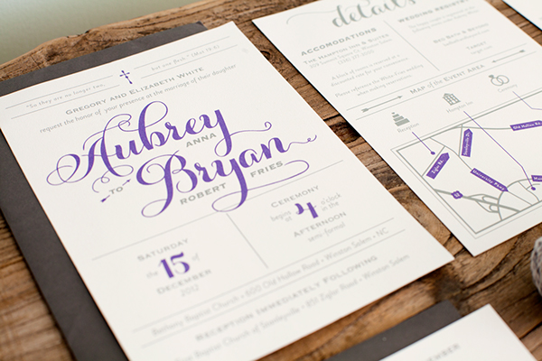 wedding invitations marraige rsvp invite map Program grey White purple print mail lettering