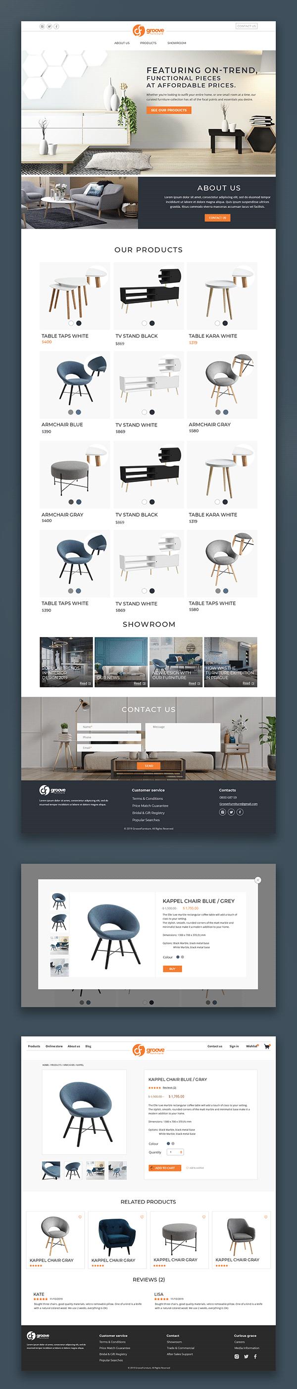 Website design for furniture store