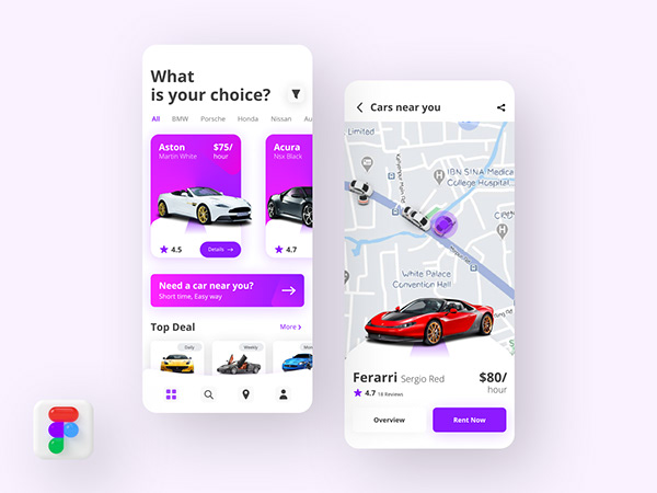 Car Rental Modern App Design