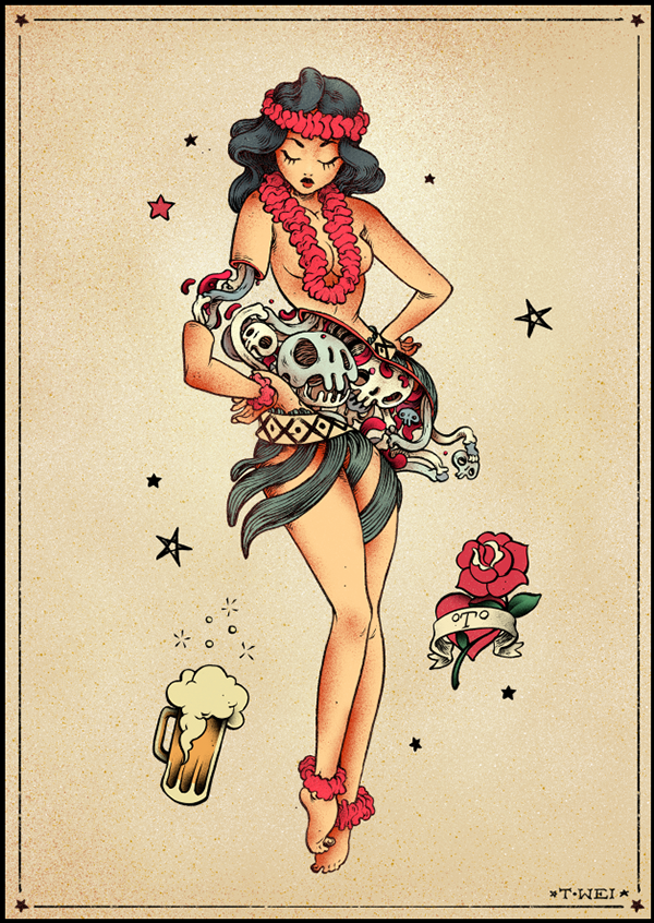 Sailor jerry on behance for Sailor jerry pin up tattoos