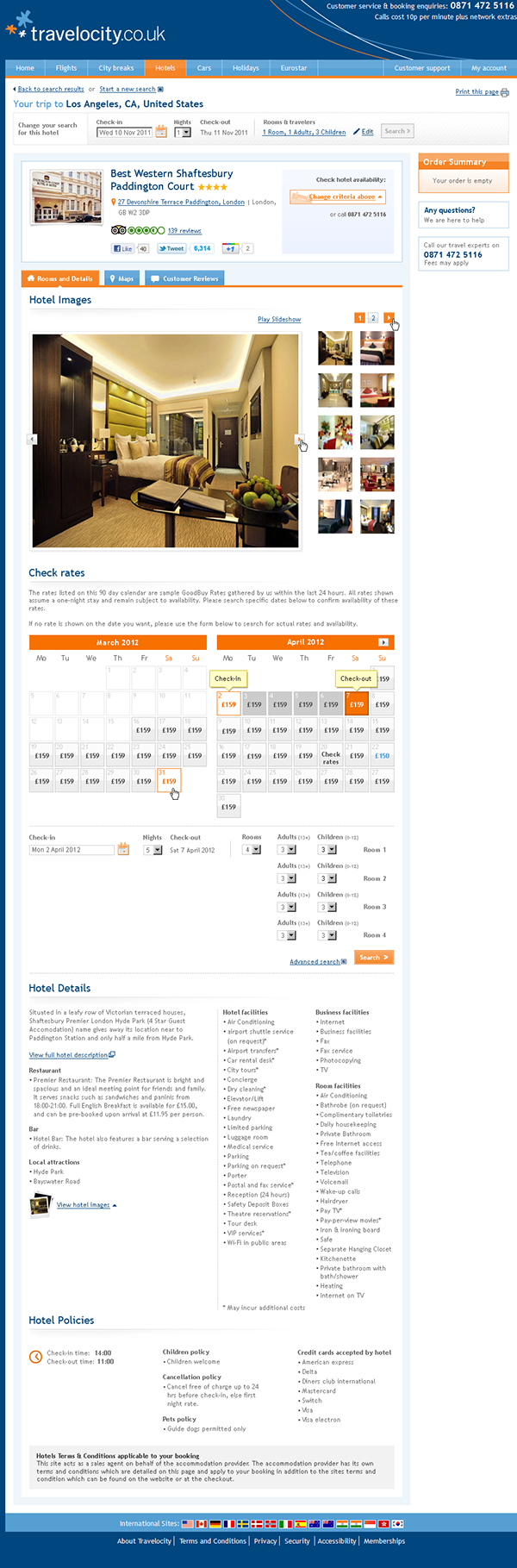 calendar  UI Design  Travelocity hotels  dates