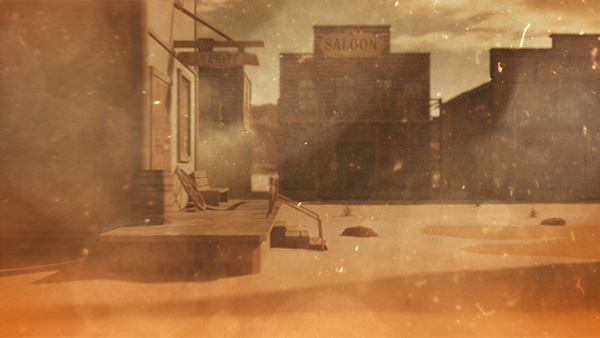 c4d Fox Classics Foxtel westerns 3D after effects photoshop cowboy guns wild west desert design direction compositing grading orange