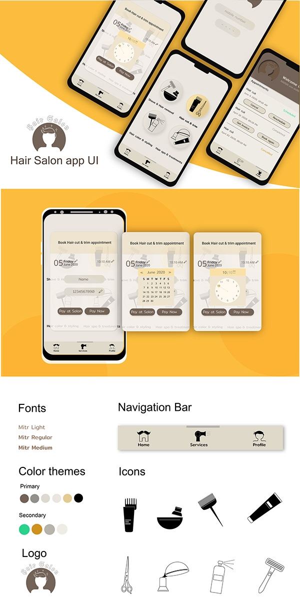 Hair Salon Mobile app UI design