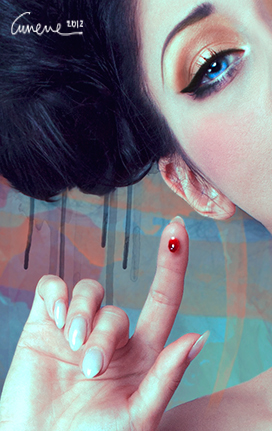 model,Editing ,digital,portrait,rose,blood,thorns,red,blue,bite,Burlesque,doll,dolly,cunene