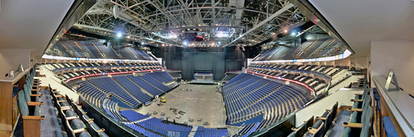 180 degree view of the arena interior from the Client Suite.