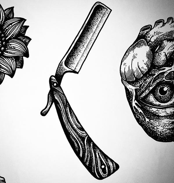 Tattoo design razor on behance for Straight edge razor tattoo