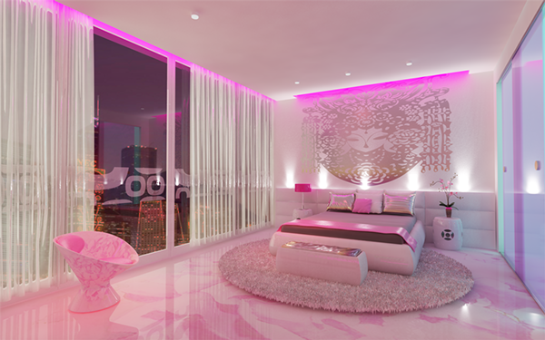 Pink room on behance for Pink bedroom designs for small rooms