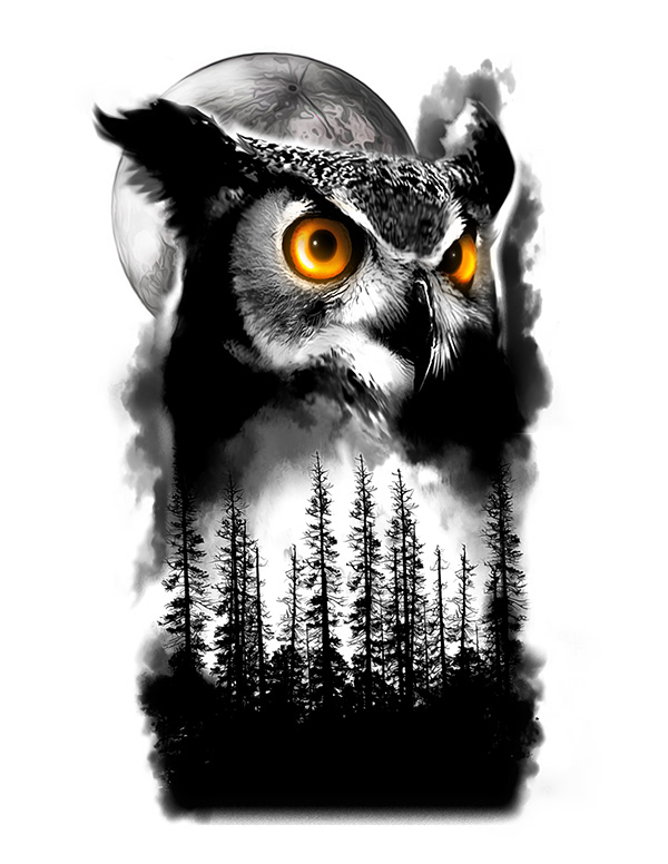 Owl And Tree Half Sleeve Tattoo Design On Wacom Gallery