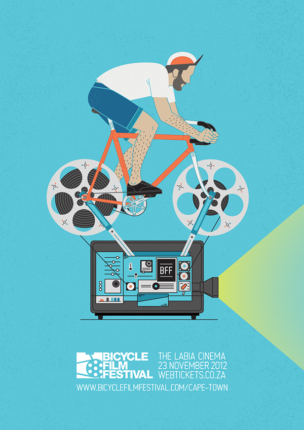 Bicycle bff festival films  Cape Town  vector  contraptions  pedal power poster contraption
