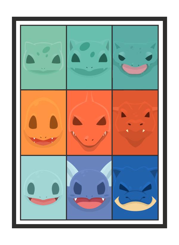 Minimal Starter Pokemon Poster On Behance