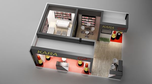 Exhibition Stand 3d Max : Exhibition stand for a cosmetic brand made in d max on
