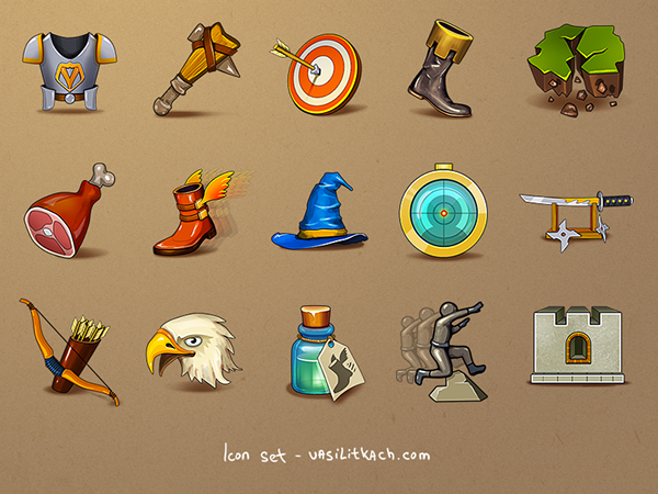 UI and icons for RPG fantasy game on Behance