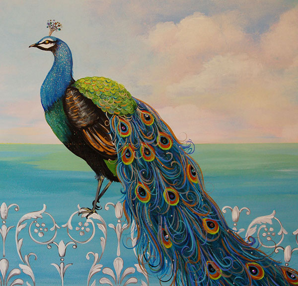 Decorative painting peacock mural on behance for Decorative mural painting