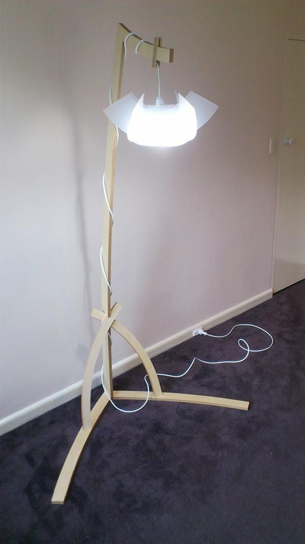 Lamp plywood cnc lighting led bulb tall digital fabrication polypropylene furniture