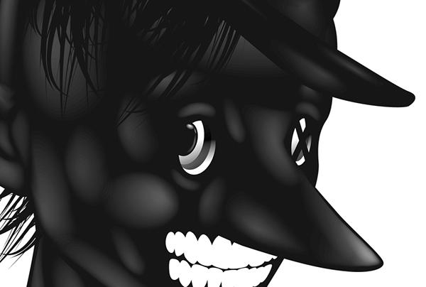 ustsinau black glossy dark inspiration Mode pirat White