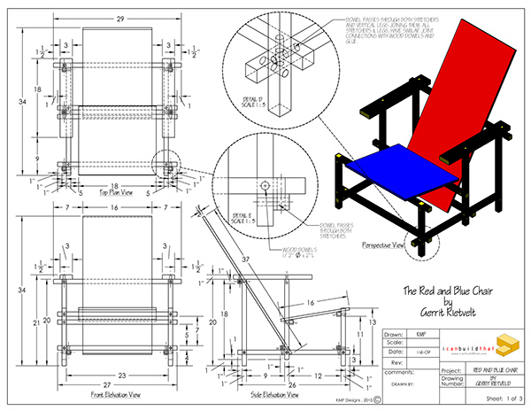 rietveld chair plans | Easy Woodworking Project