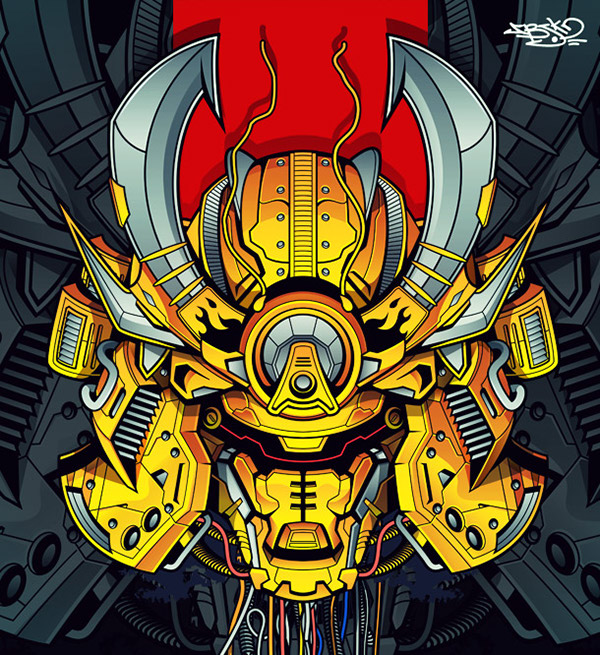 samurai robot mecha gold warrior super detailed vector lineart