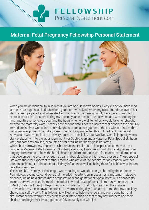 Maternal fetal medicine fellowship statement writing on