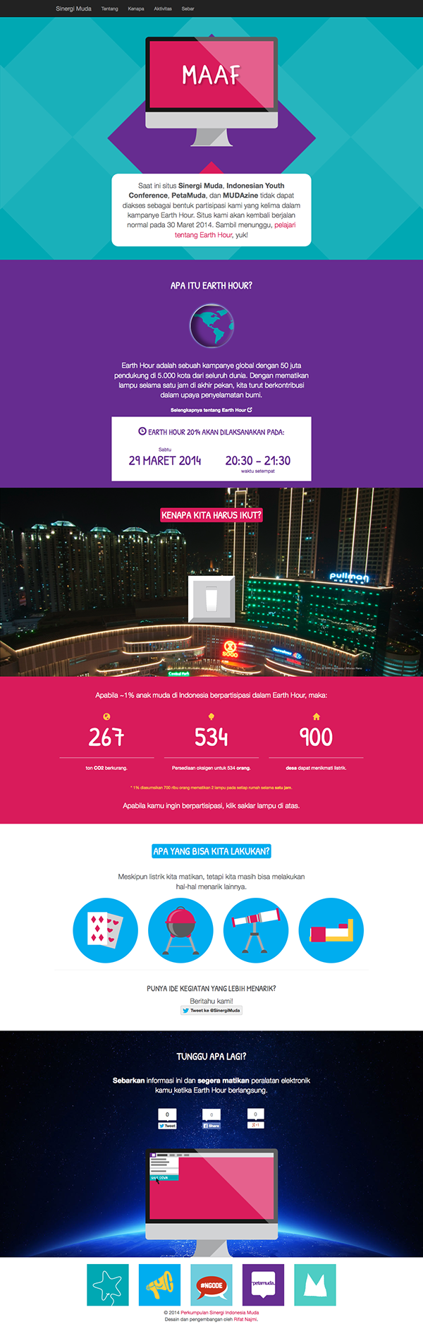 bootstrap html5 css3 jquery earth hour campaign microsite One Page