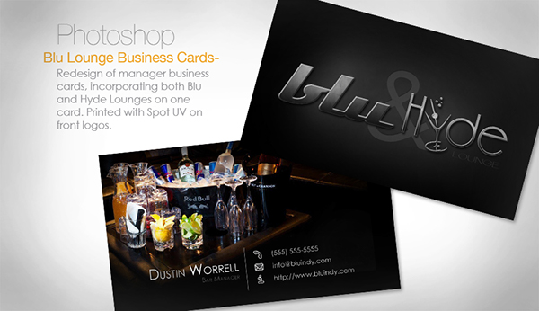 photoshop redesign nightclub Business Cards black bar