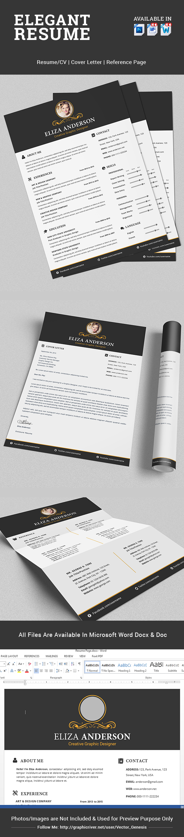 elegant resume  cv set with psd  u0026 ms word file on behance