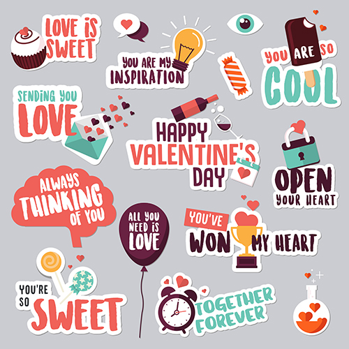 Set Of Valentineu0027s Day Love Stickers For Social Network On Behance
