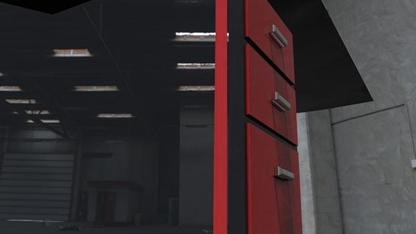 Bureau noir et rouge on student show
