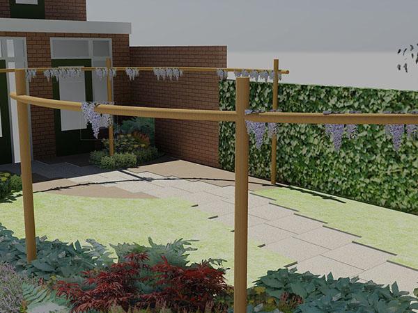 tuin groter doen lijken moderne tuin tuintuin zachte omarmende lijnen ...