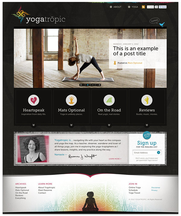 Yoga wordpress blog design slideshow business card logo