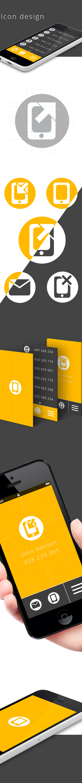 orange mobile icon iphone design