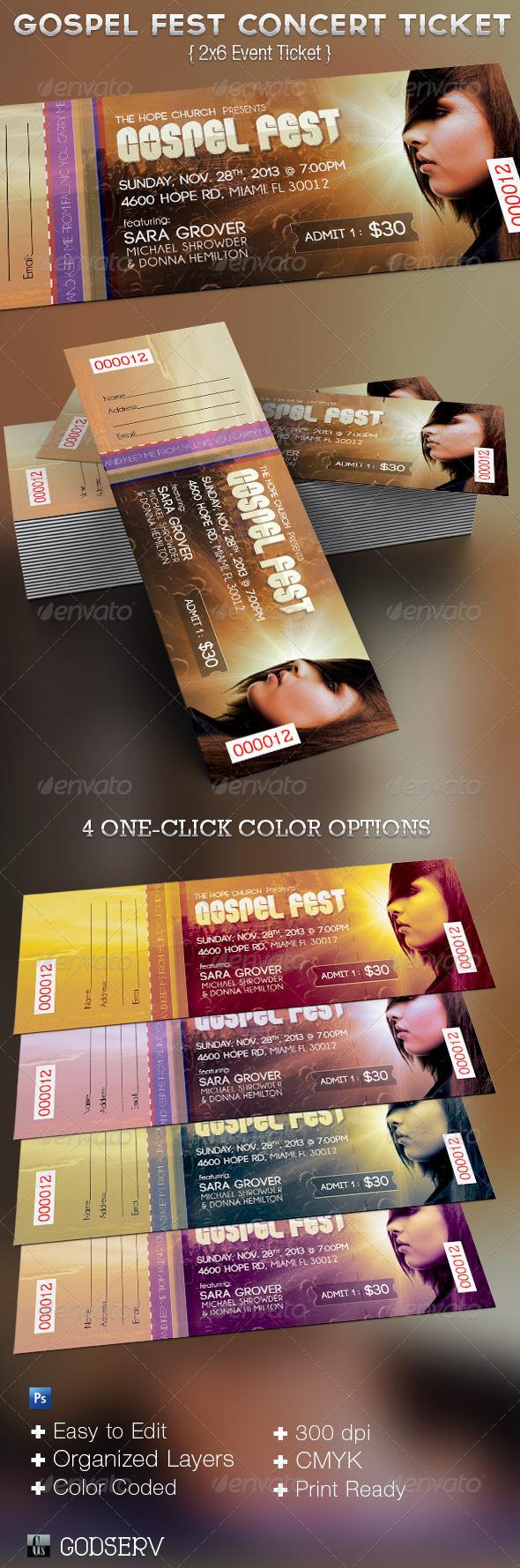 Concert Ticket Outline Gospel Fest Concert Ticket