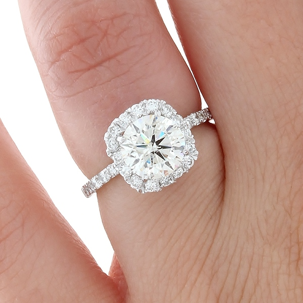 Cushion Halo & Round Diamond Engagement Ring on Behance