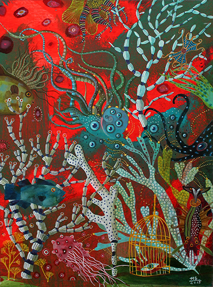 sea fish aquatic painting   ILLUSTRATION  colors coral reef octopus cage