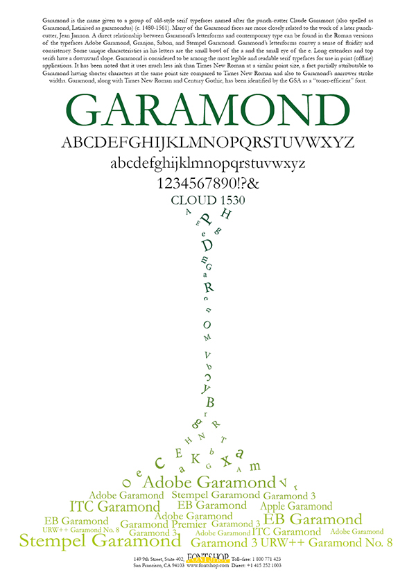Fontshop poster for garamond on Behance