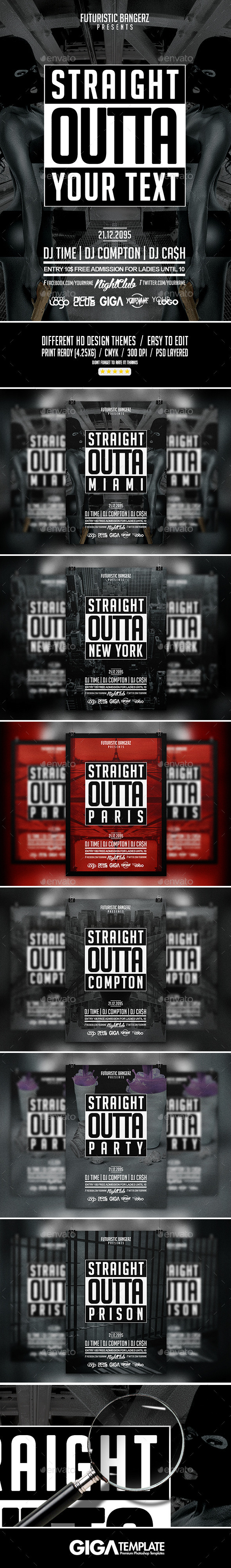 Straight Outta Party Hip Hop Flyer Psd Template On Behance